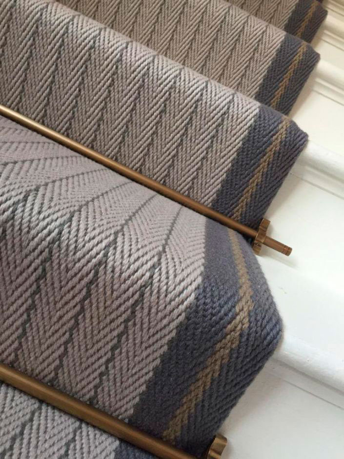 Flatweave stair runner with border Claire, Graphite