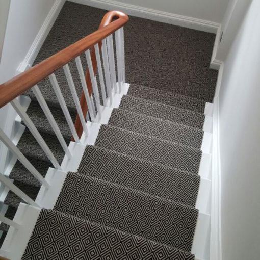 Stair runners, Diamond Flatweave Black & white