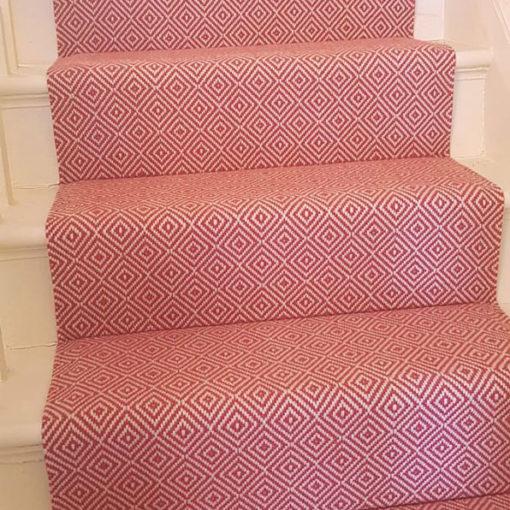 Stair runners, Diamond flatweave Rouge