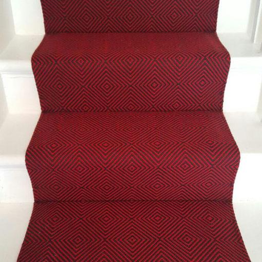 Large diamond flatweave Flame Red, Stair runners