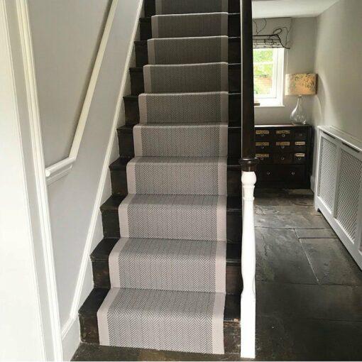 Flatweave Stair runner with border, Herringbone collection