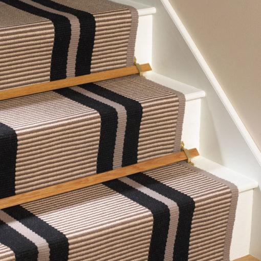Tapis d'escalier tissé plat, Transat PNT16 black
