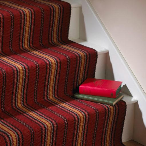 Tapis d'escalier tissé plat, Stripes. Kelly Red JD 02