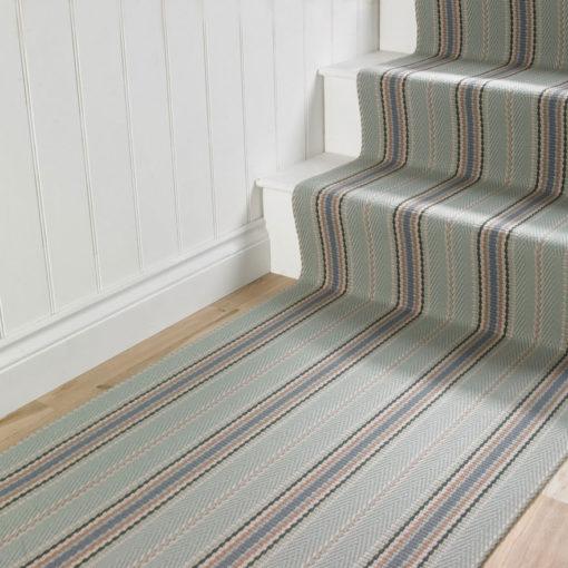 Tapis d'escalier tissé plat, 100% laine, Kelly JD Celadon