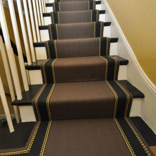 Bespoke stair runners with striped border