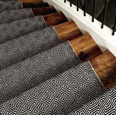 Tapis d'escalier Jacquard Escargot. Black