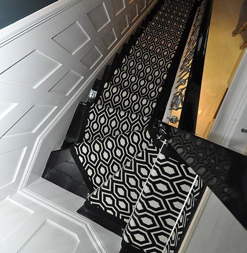 Tapis d'escalier Jacquard Hex. Black/White
