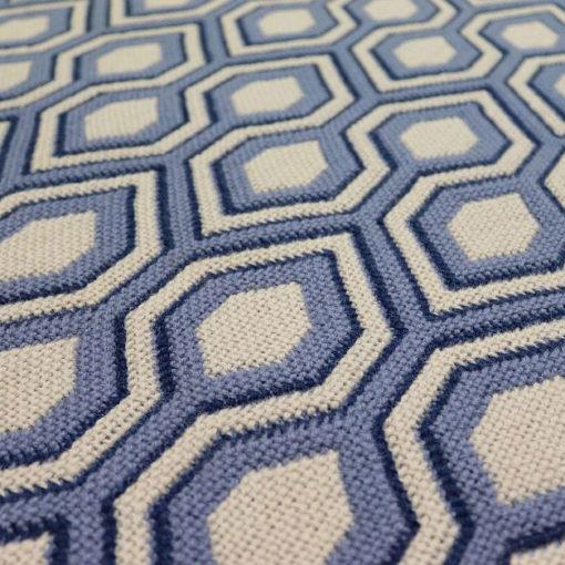 Tapis d'escalier Jacquard Hex. Denim/Dk.Blue