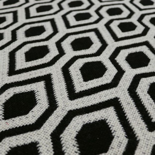 Tapis d'escalier Jacquard Hex. Black/White Reverse